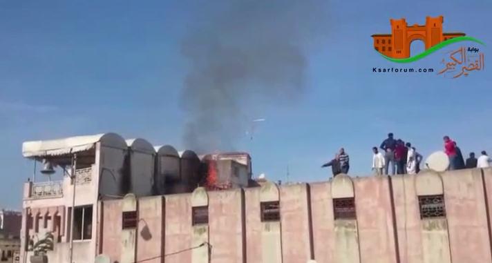 القصر الكبير : حريق بمولد كهربائي بسطح سوق الحنة ـ فيديو ـ