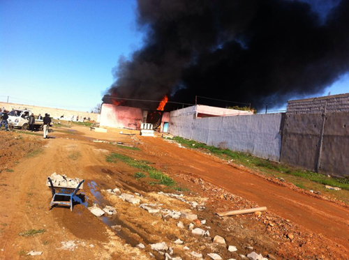 حريق مهول في مخزن للبولستير بالمريسة ـ فيديو ـ