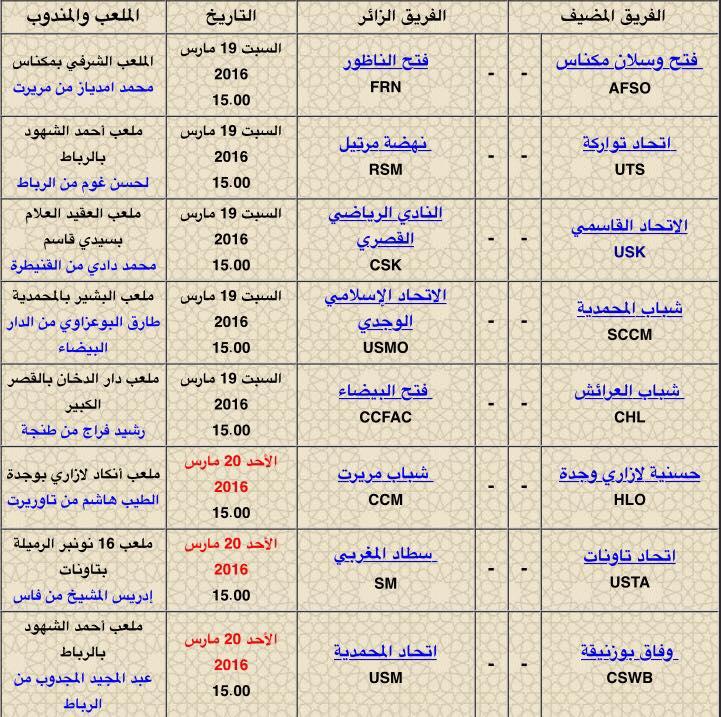 النادي الرياضي القصري يرحل إلى سيدي قاسم في مهمة صعبة المنال و قمة الكبار تجمع بين اسطاد المغربي و اتحاد تاونات