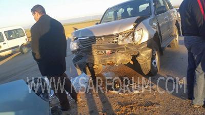 حادث سير بالقرب من قنطرة واد المخازن يخلف خسائر جسيمة
