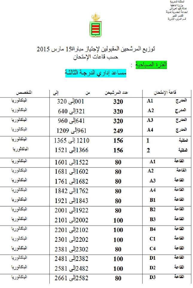 القصر الكبير: توزيع المرشحين المقبولين لإجتياز مباراة 15 مارس 2015